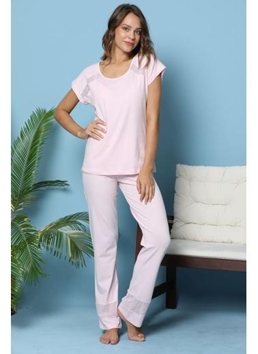 Siyah İnci Pijama Takım Pembe